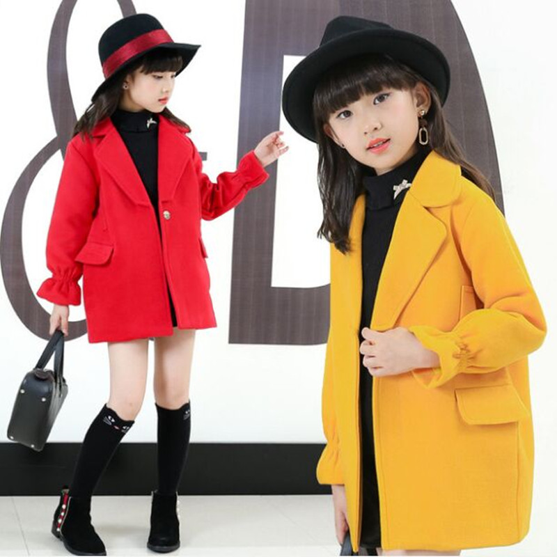 2018 Winter Girls Wool Coats Kids Warm Fashion Lapel Long Sleeve Collar Girls Clothes Woolen Coat Fit 4-10T sophisticated style lapel ripple buttons long sleeve coat for women