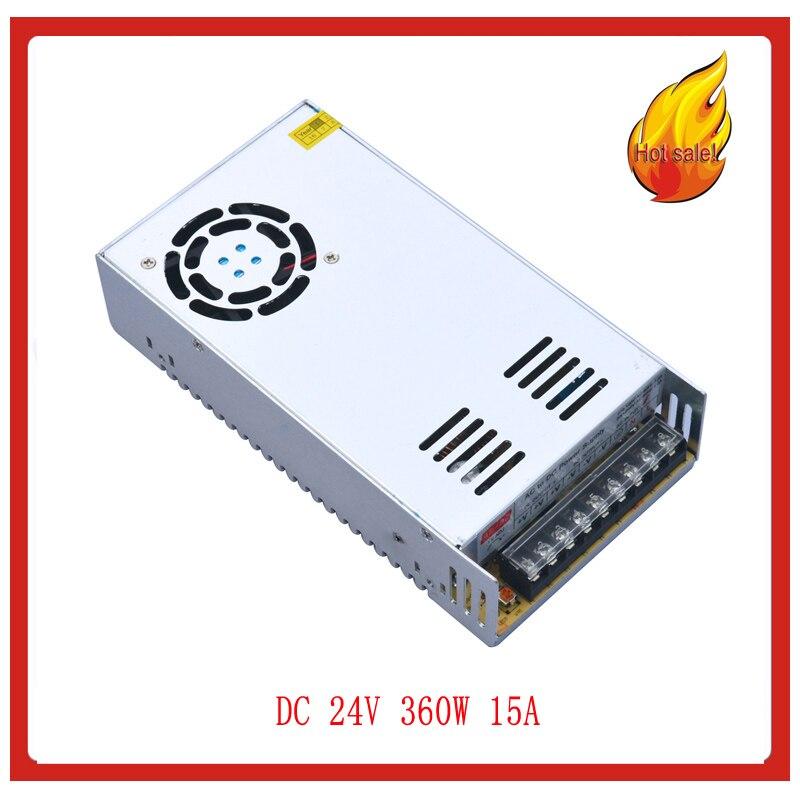 Offre spéciale! AC 110 V/220 V à DC 24 V 15A 360 W tension transformateur alimentation à découpage pour bande livraison gratuite