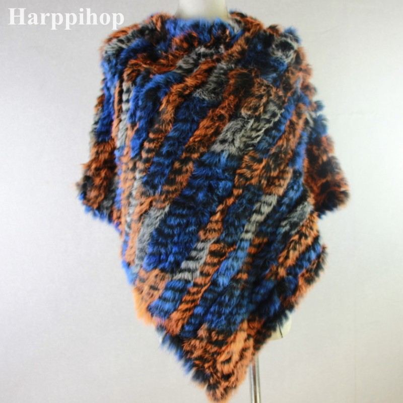 Genuine Real Knitted Rabbit Fur Poncho Wraps
