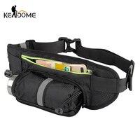 Outdoor Sports Waist Bag Walking Running Cycling Waist Belt Pack with Water Bottle Holder for Smartphone Key Money Nylon XA804WD