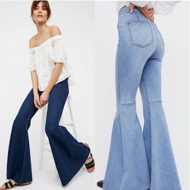 Vintage Bell Bottom Flare Jeans for women High Waist Mom Jeans Woman Stretch Long Wide Leg Jeans lady Casual Curvy Denim Trouser image