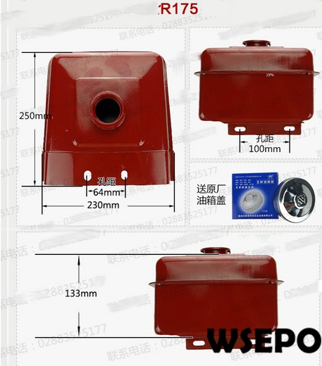 OEM Quality! Diesel Fuel Tank Assy with Cap and Petcock for R175 5HP 4 Stroke Small Water Cooled Diesel Engine wicked ways