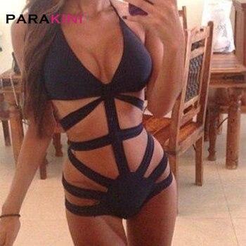 PARAKINI 2018 בגדי ים נשים גבוהה מותן חתיכה אחת בגד ים סקסי Monokini נשים תחבושת בגד ים שחור חוף ללבוש