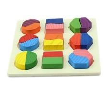 Дети младенец Монтессори пазл ранний деревянный обучение образовательный игрушка геометрия сборка