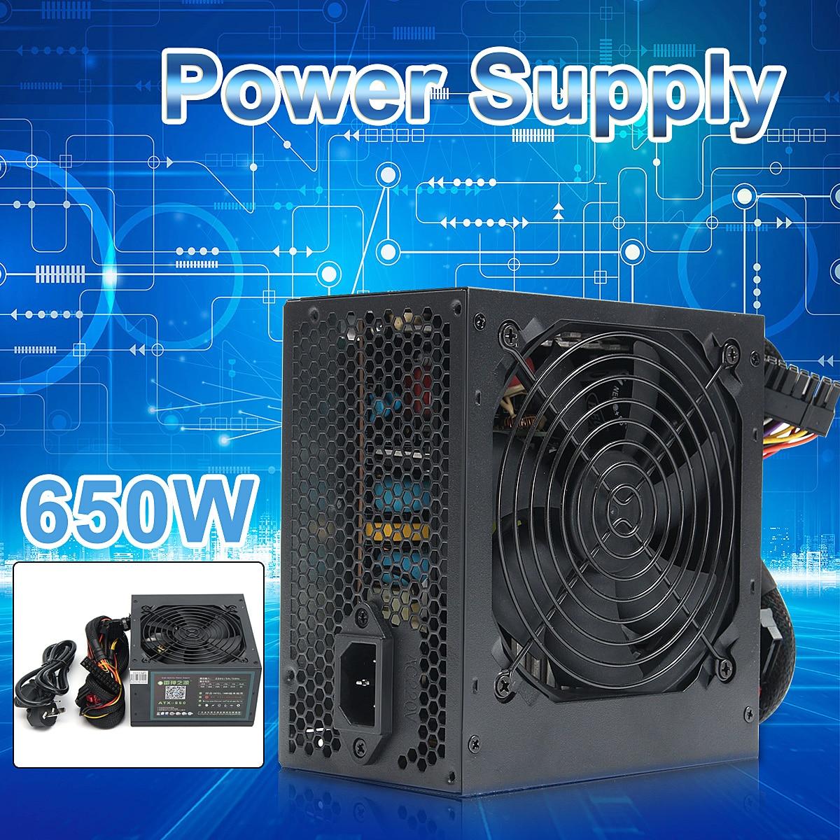 350W 650W Peak-PSU ATX 12V PC de jeu alimentation 24Pin/Molex/Sata 12CM ventilateur ordinateur alimentation pour BTC
