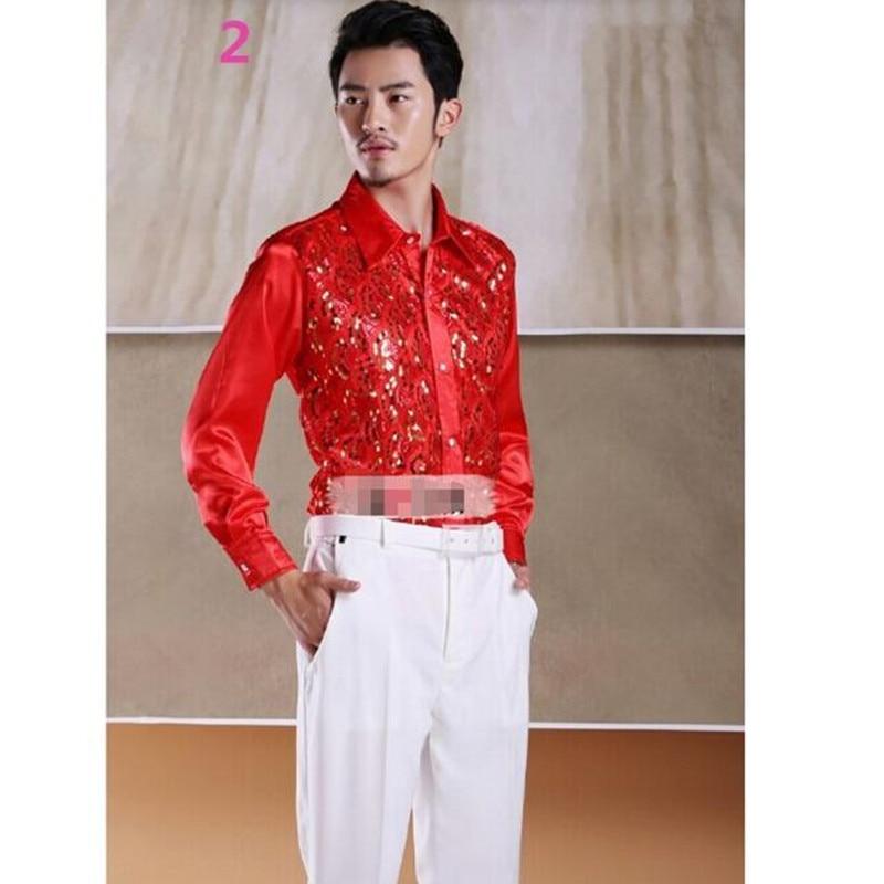 Men\'s shirt dress shirt Shiny sequins Men Wedding Groom Shirts ...