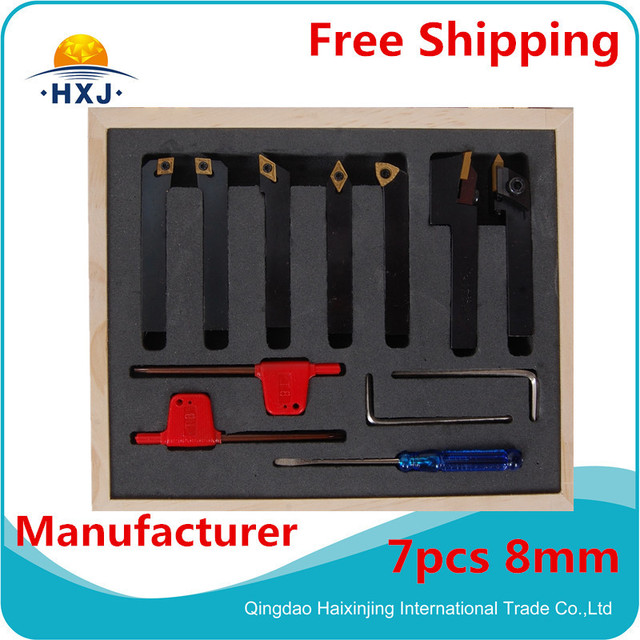 turning tool 8mm  turning tool    7pc/set 8mm  indexable lathe cutting tool set with inserts