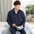 Marca de alta qualidade de manga comprida sleepwear pijama de algodão engrossar pijama masculino homme casual plus size XXXL moda treino