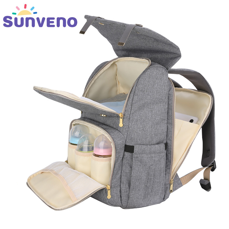 SUNVENO New Fashion Diaper Bag Backpack Large Capacity Baby Bag Nappy Bag for Baby Care new arrival sunveno fashion diaper bag backpack high capacity nappy bag baby travel backpack with insulation pocket