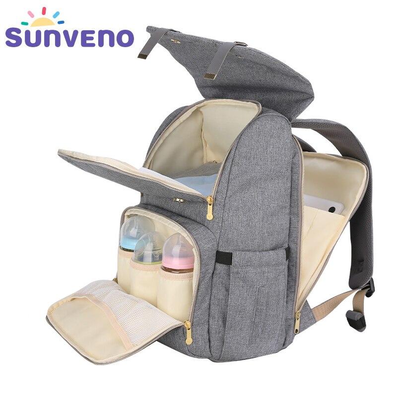 SUNVENO nueva moda bolsa de pañales mochila de gran capacidad del bolso del panal del bolso del bebé para el cuidado del bebé