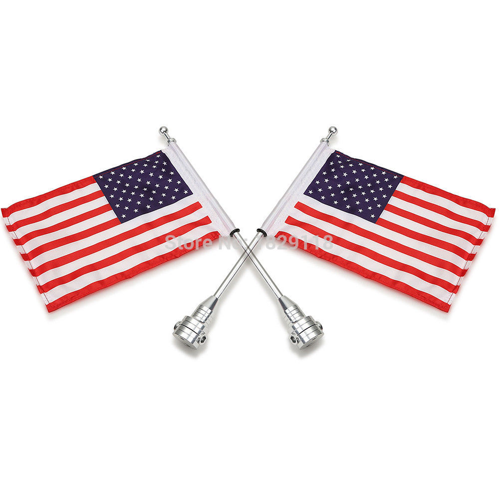 ФОТО RPMMOTOR 2pcs Chrome Rear Side Mount Flag Pole American Flag For Harley Luggage Rack