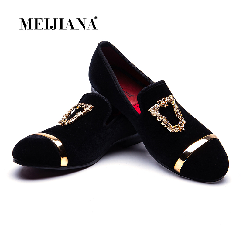 MEIJIANA Loafers Men Velvet Shoes Black Designer Mens Smoking Slippers Male Wedding and Party Loafers Dress