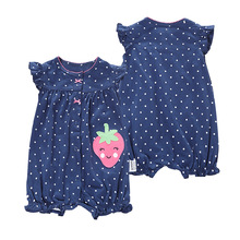 Купить с кэшбэком Baby Romper Short Sleeves 100% Cotton Comfortable Baby Pajamas Cartoon Printed Newborn Baby Boy Girl Clothes