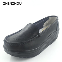 2016 Spring Genuine Leather Soft Outsole Work Shoes Female Black Swing Shoes Plus Size Shoes Wedges