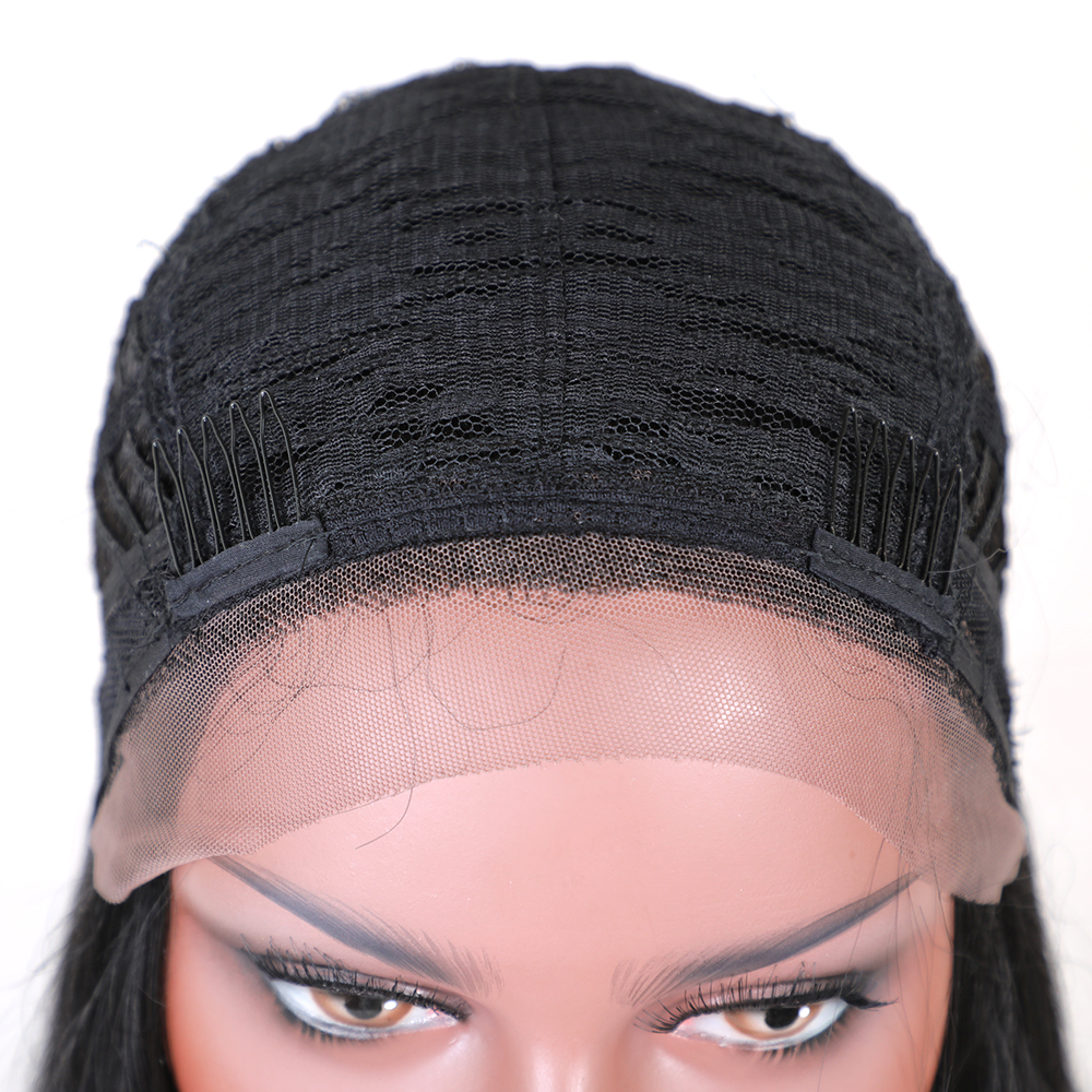 Element Swiss Lace Front Wig 1b # Svart 26 tum 130% Density Long - Syntetiskt hår - Foto 5