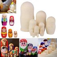 10 pcs Lindo Handmade DIY De Madeira Em Branco Rússia Presente Desejando Artesanato Bonecas Do Assentamento Do Russo de Matryoshka Nidificação Tradicionais FJ88
