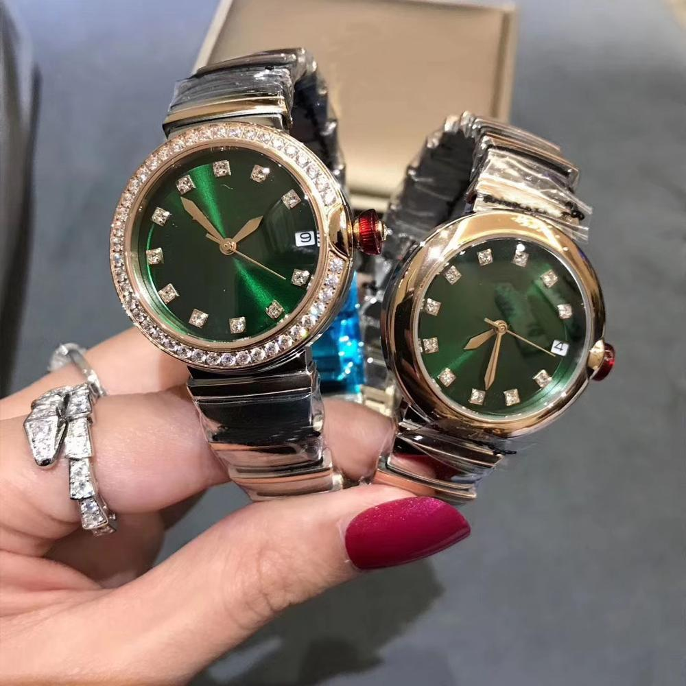 Luxury Dress Round Rose gold silver mixed color green white dial zircon Wristwatch automatic mechanical movement