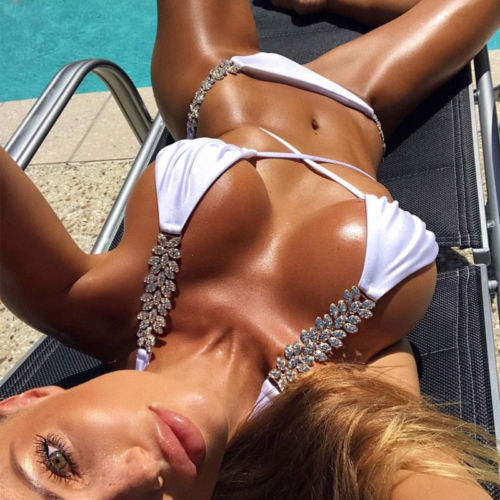 2018 New Bikini Set Women Swimwear Diamond Insert Bikini Swimsuit Push Up Padded Bra Bathing Suit Crystal Glittering Beachwear