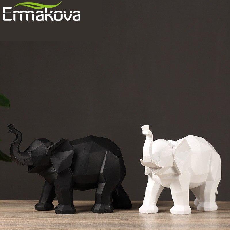 ERMAKOVA Modern Abstract Elephant Sculpture Resin Animal Statue Figurine Geometric Style Home Desktop Office Decoration Gift
