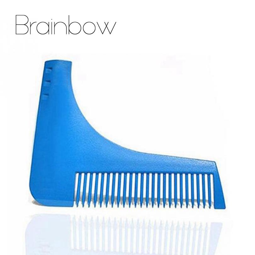Brainbow 1pc Blue Beard Shaping Tool Sex Man Gentleman Beard Trim Template Hair Cut Molding Trim Template Beard Modelling Tools