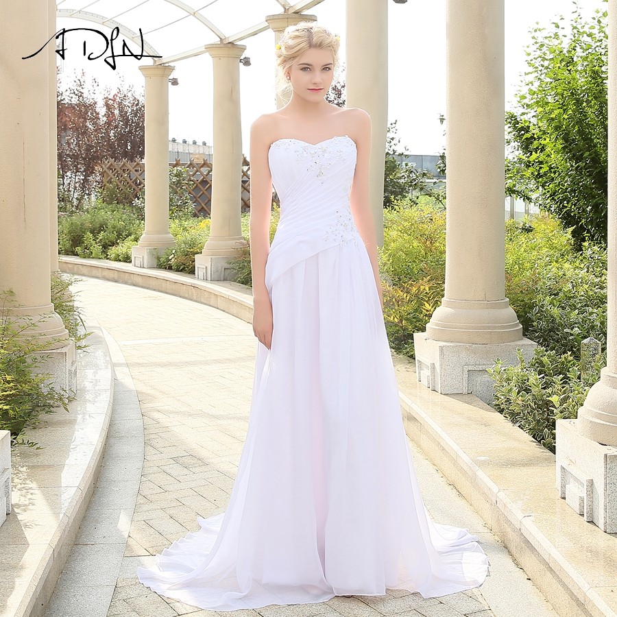 US $47.07 49% OFF|ADLN Romantic Beach Wedding Dress Plus Size Sleeveless  Sweetheart Applique Chiffon Wedding Dresses robe de mariee Lace up Back-in  ...