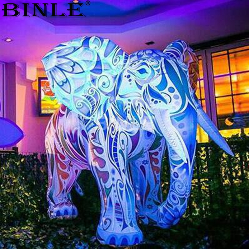 Hot sale LED airblowing style outdoor decoration colorful giant inflatable elephant large animal balloon for advertising
