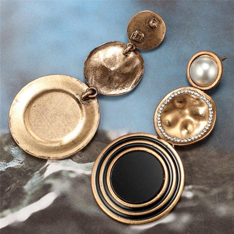 1 זוג ארוך סגסוגת תליון עגילי שחור מתכת פרל עגילים לנשים עגילי הצהרת גדול נשי תכשיטים