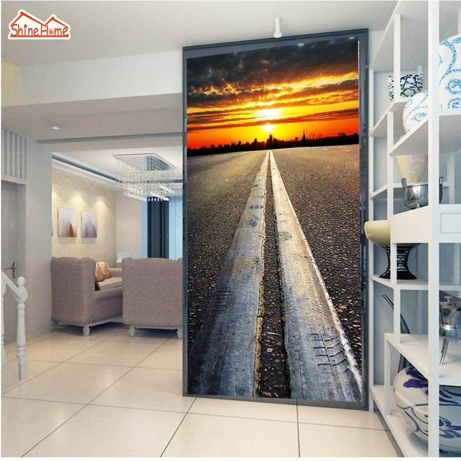 ShineHome-City Road Sunset 3d Wall Paper Background Wallcovering 3 d Wallpaper for Walls Living Room Papel De Parede Rolls shinehome butterfly nordic wall picture wallpapers 3d wallpaper for walls 3 d living room wall paper wallpaper murals roll art