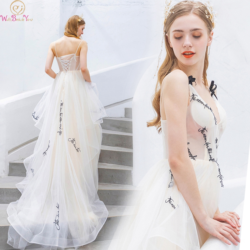 Asymmetry Spaghetti Straps Formal Party Girls Prom Dresses 2019 New V Neck Long Vestidos De Gala Evening Gowns Walk Beside You