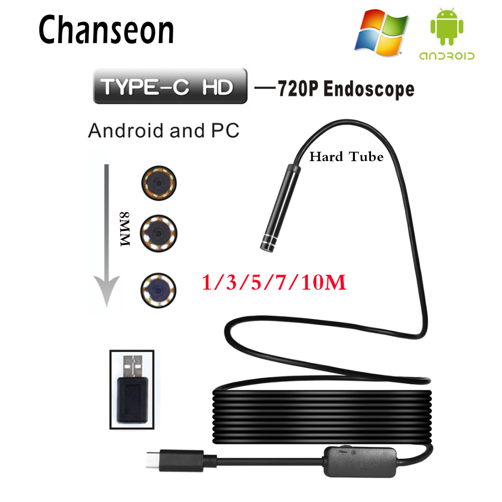Chanseon 8mm HD 720P USB Endoscope Camera TYPE-C Endoscope Inspection Hard Tube Camera PC Android for Huawei Phones Borescope