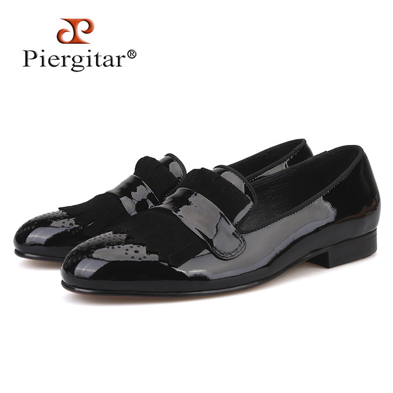Piergitar new style Handmade Men Patent Leather shoes with Classical Brogue Printing and Suede Fringe Party