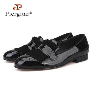 Piergitar new style Handmade Men Patent Leather shoes with Classical Brogue Printing and Suede Fringe Party men loafers - DISCOUNT ITEM  0% OFF All Category