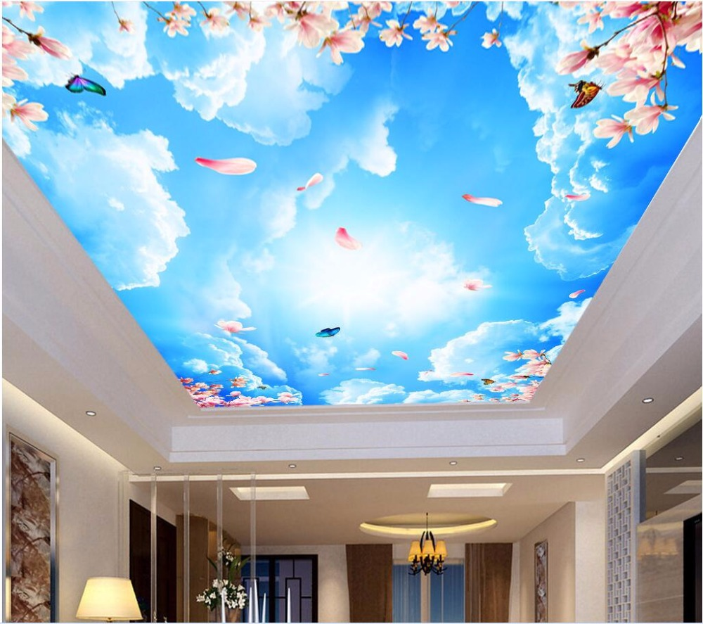 Wdbh Custom 3d Ceiling Murals Wallpaper Home Decor Painting Sky Peach Flower Butterfly 3d Wall