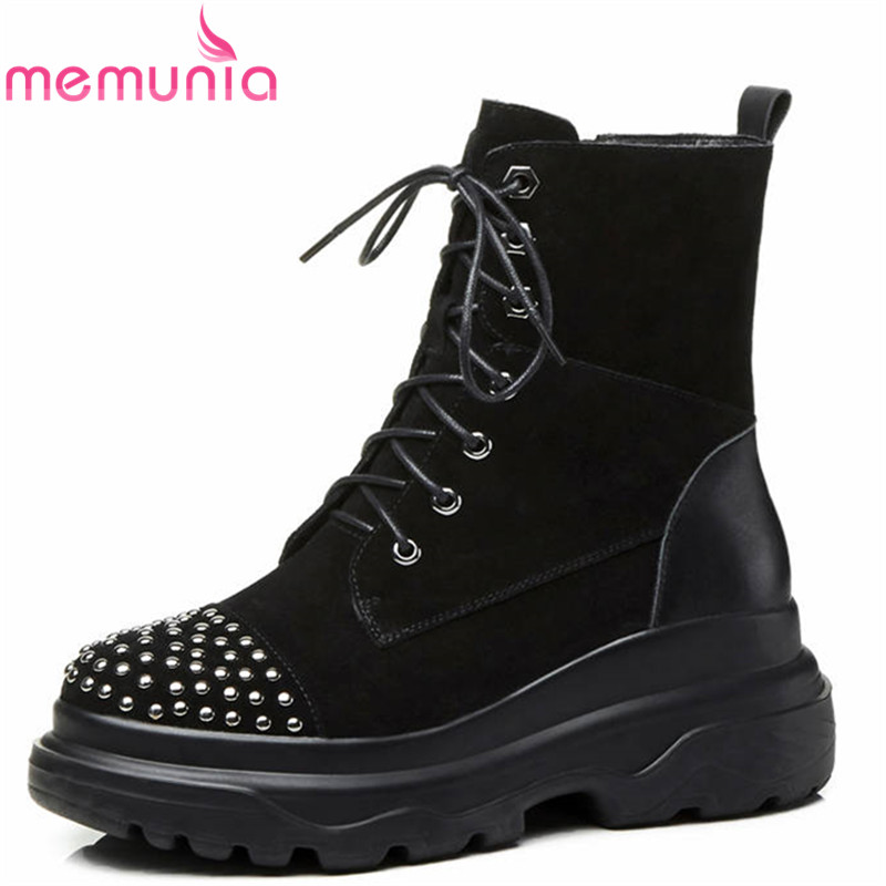 MEMUNIA 2018 new arrival ankle boots women round toe suede leather boots zip +lace up platform boots rivet punk shoes woman MEMUNIA 2018 new arrival ankle boots women round toe suede leather boots zip +lace up platform boots rivet punk shoes woman