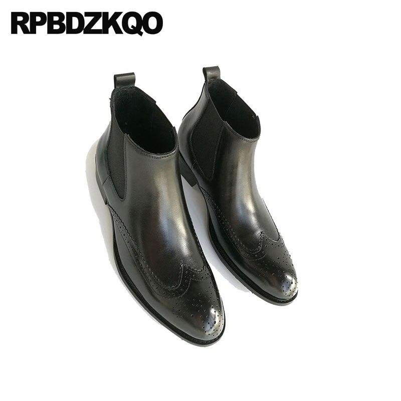Chaussures en cuir véritable Oxford hommes bout pointu robe bottes cheville mariage Wingtip Chelsea Brogue noir haut bottillons Chunky - 5