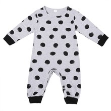 2016 Rushed Baby Born Casual Unisex Full Baby Girl New Kids O-neck Letter And Dot Romper Jumpsuit Bodysuit Clothes Outfits