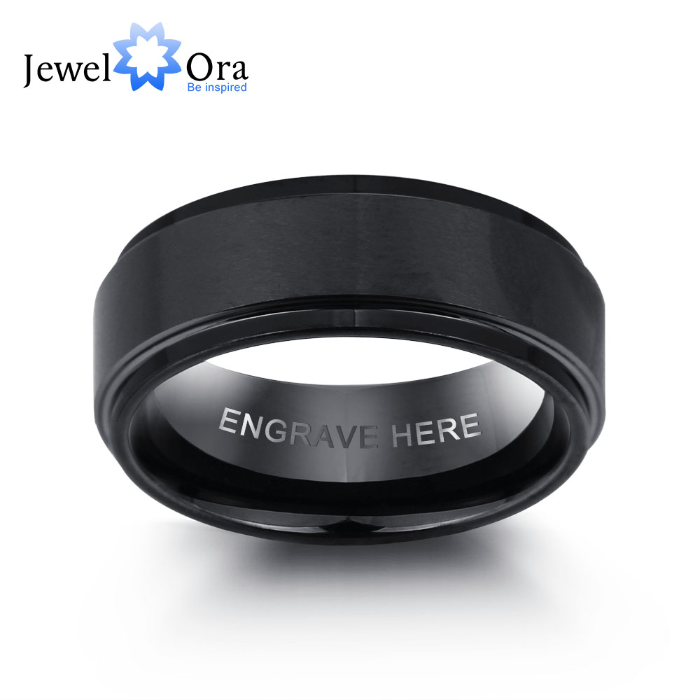Personalized Engrave Tungsten Steel Ring Fashion Jewelry Black Men Rings For Party Gift for Husbands(JewelOra RI101913)Personalized Engrave Tungsten Steel Ring Fashion Jewelry Black Men Rings For Party Gift for Husbands(JewelOra RI101913)