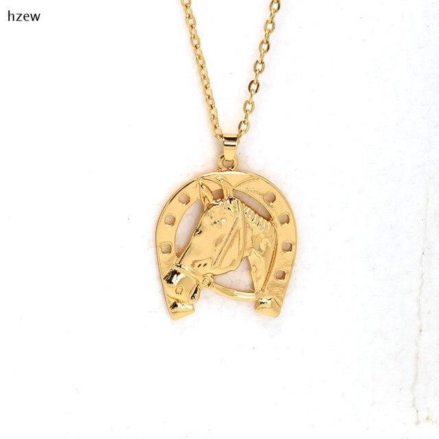 Célèbre Hzew kc oro colori Collana Testa di Cavallo ferro di Cavallo Hoof  DD52
