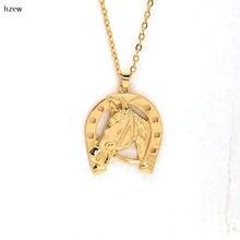 Ожерелье hzew золотого цвета Подкова копыта полые ожерелья модные