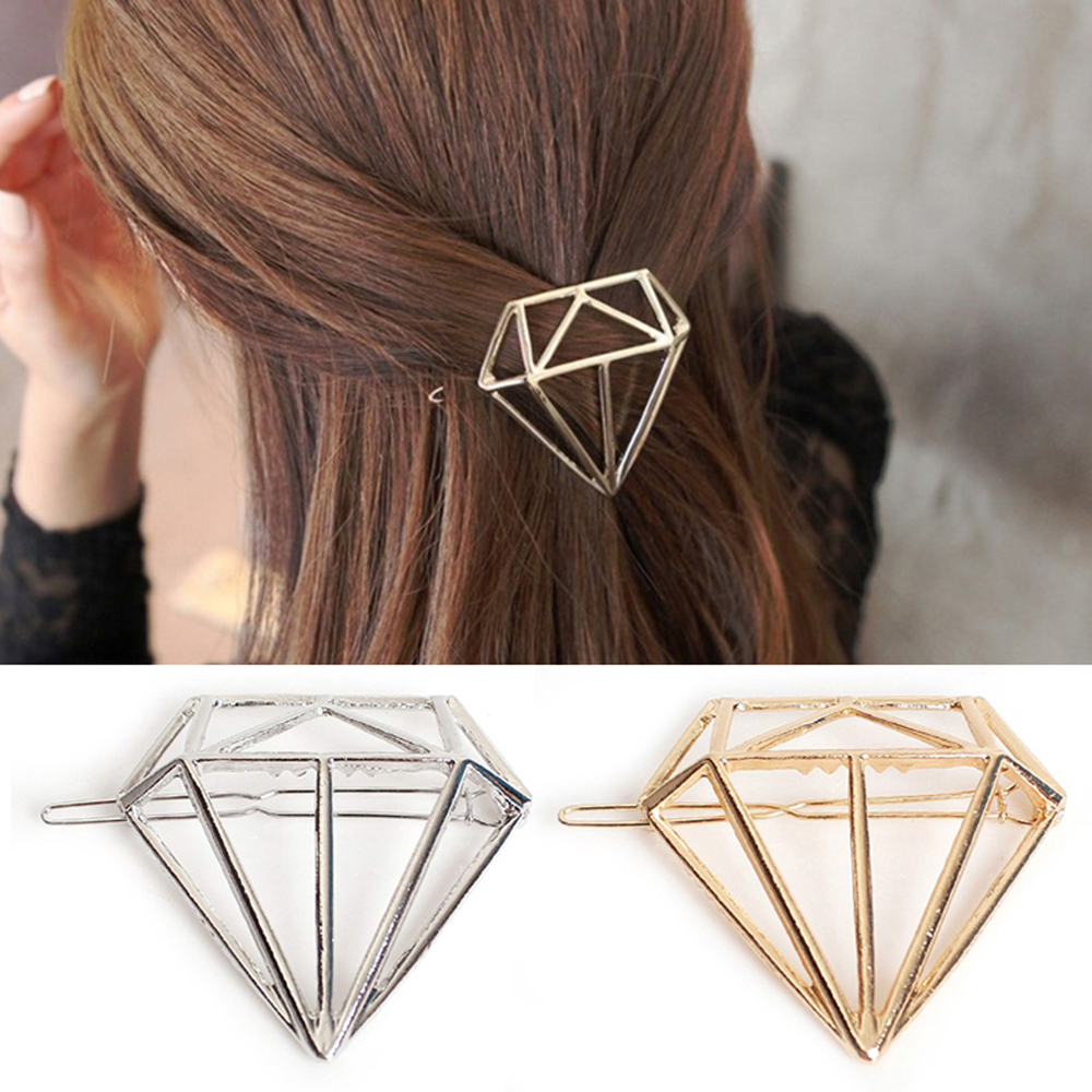 Fashion Alloy Diamond Shape 1pcs Hair Accessories Hairpin Simple Side Clip Large Word Clip Barrettes For Women Girls