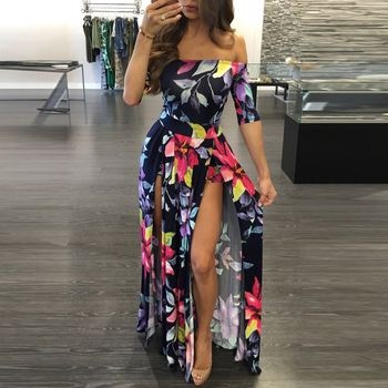 Women Dress  Summer Long Maxi Floral Print Ankle -Length High Slit Bohemian Female Big Size