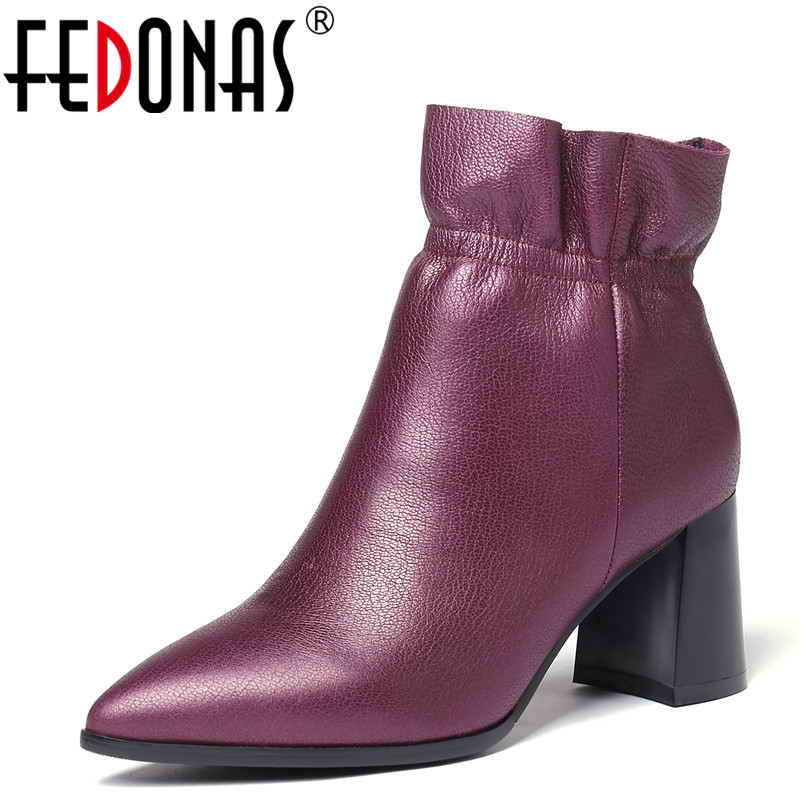 FEDONAS 1Fashion Women Ankle Boots Genuine Leather Autumn Winter Warm Basic Boots Pointed Toe Sexy High Heels Shoes Woman Pumps