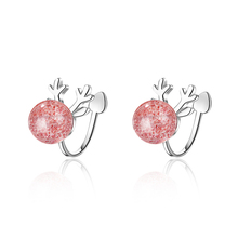 Everoyal Trendy 925 Sterling Silver Earrings For Girls Accessories Cute Crystal Pink Elk Women Jewelry
