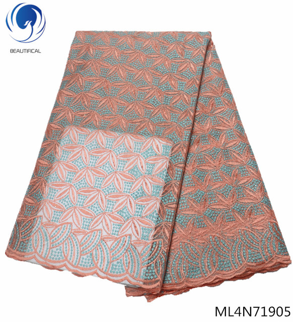 BEAUTIFICAL african lace fabrics Peach french tulle lace fabric with stones for dresses 2019 special offer 5yards/lot ML4N719