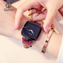 2018 GUOU Brand Quartz Lady Watches Women Classic Black Antique Watch Square Leather Dress Wrist watch Relogio Feminino Montre