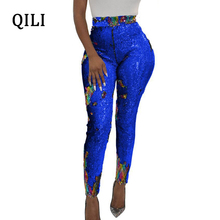 QILI Women Sequined Pencil Pants Skinny Mid Waist Zipper OL Style Work Trousers Slim Long Plus Size S-XXXL