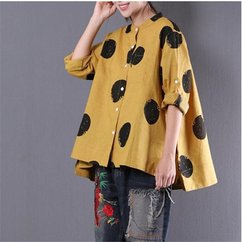 BUYKUD 2018 été femmes lâche points imprimé ligne chemise col montant à manches longues Blouses irrégulières décontracté jaune poche hauts