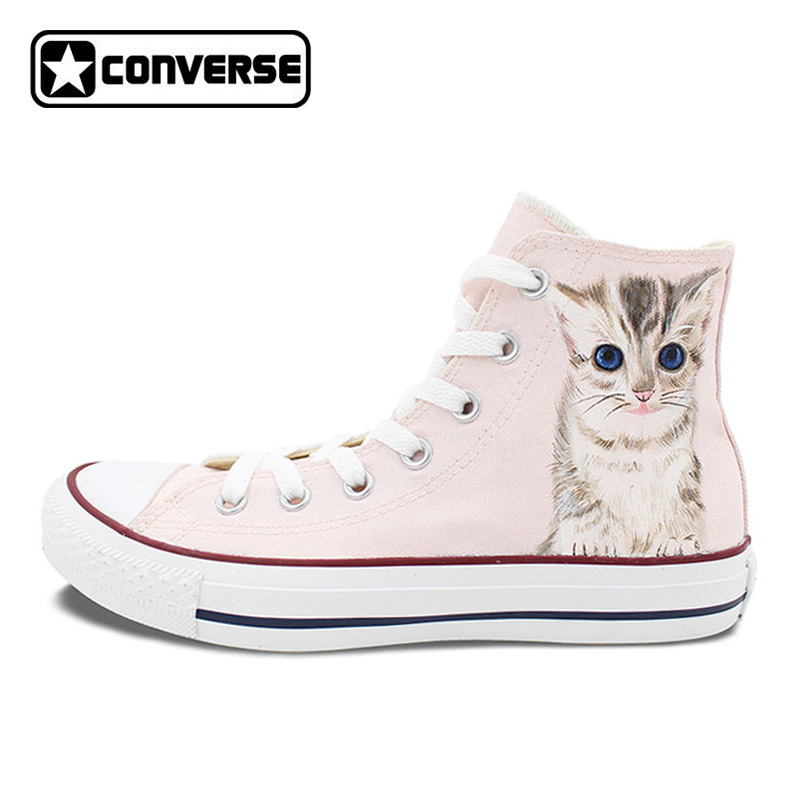 Converse All Star Men Women Shoes Hand Painted Pet Cat Originals Skateboarding Shoes Bra ...