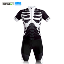 WOSAWE Men's Cycling Bike Bicycle MTB Sportswear skeleton Short Jersey Shirt Cycle Wear Clothes Black with Write S-2XL
