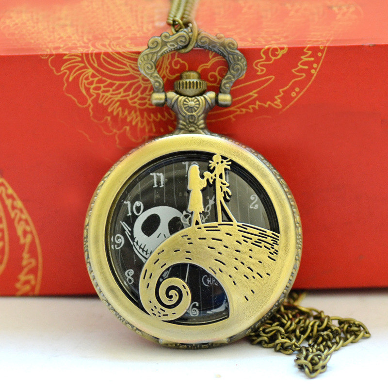 The Nightmare Before Christmas Jack Skellington Tim Burton Movie Theme Watches Fashion Quartz Pocket Watch Vintage Necklace Gift in Pocket Fob Watches from Watches